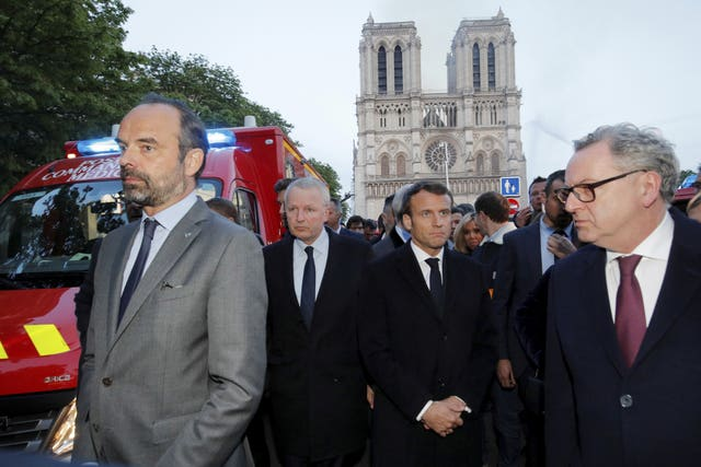 Emmanuel Macron at the cathedral on Monday