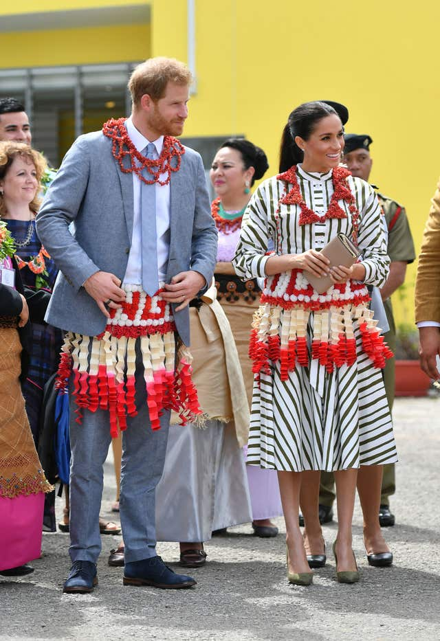 The Duke and Duchess of Sussex visit an exhibition of Tongan handicrafts