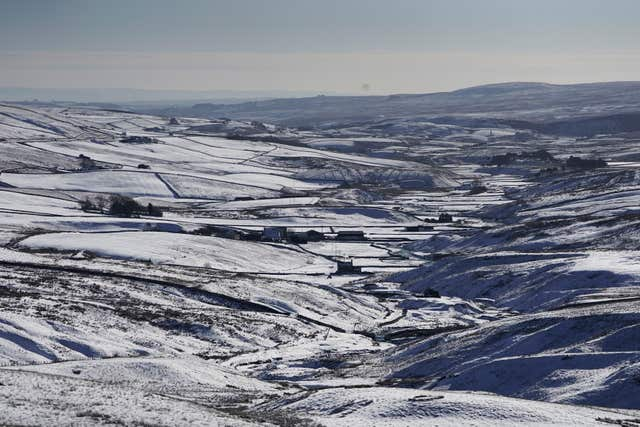 Snow also covered the countryside in Teesdale, County Durham (Owen Humphreys/PA)