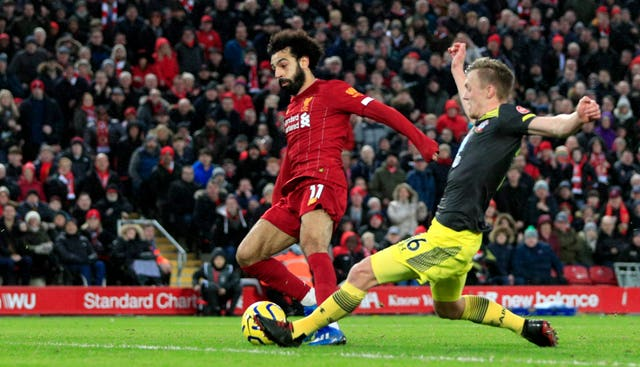 Mo Salah scores Liverpool's fourth in a 4-0 win over Southampton at Anfield