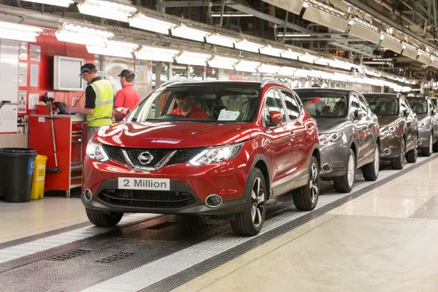 The Nissan Qashqai car produced at its Sunderland plant (Nissan/PA)