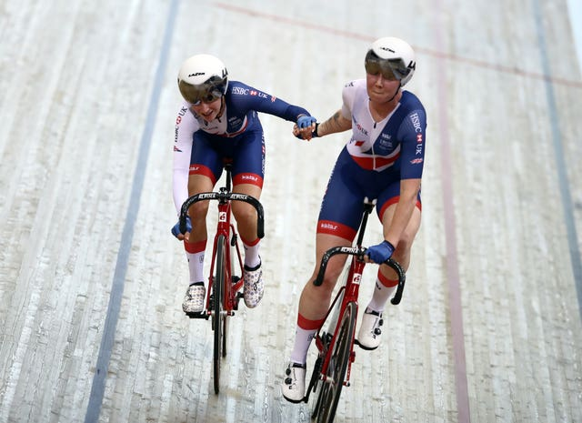 Laura Kenny and Katie Archibald, right, rode together in the Madison at August's European Championships in Glasgow