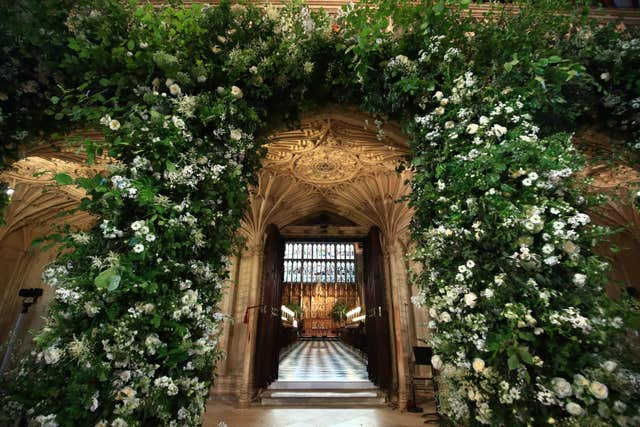 Flowers on the front of the organ loft inside St George's Chapel at Windsor Castle (Danny Lawson/PA)