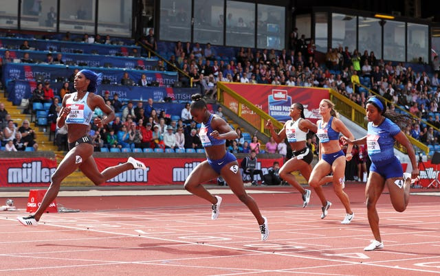 Bahamas' Shaunae Miller-Uibo, left, won the women's 200m final ahead of Asher-Smith during the Muller Grand Prix Birmingham at Alexander Stadium