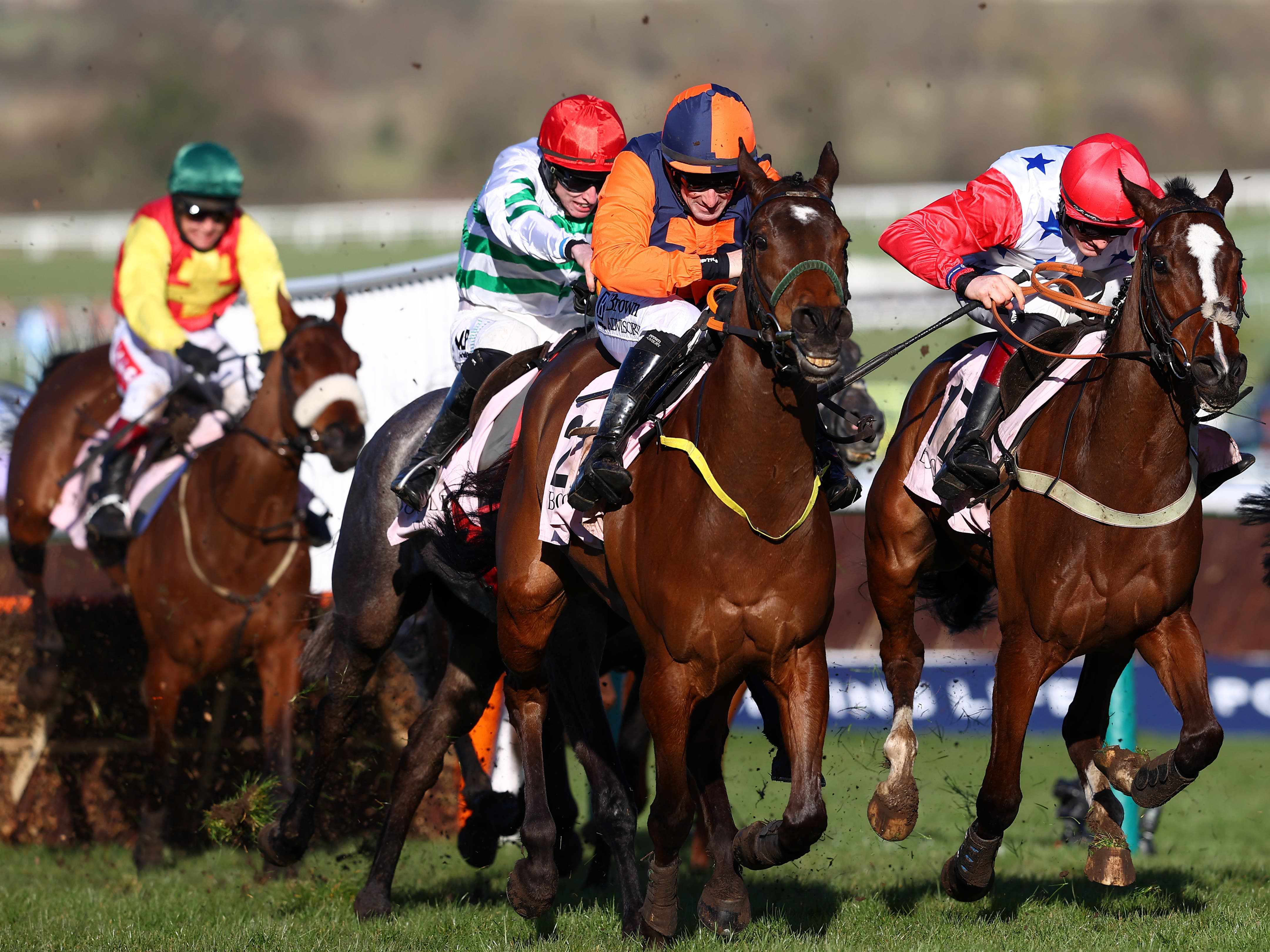 Jeff Kidder (second right) on his way to victory at Cheltenham (Michael Steele/PA)