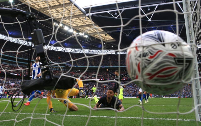 Gabriel Jesus, centre, headed the only goal when Brighton lost out to City in the 2019 FA Cup semi-finals