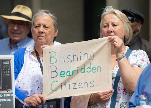 Demonstrators protest outside BBC Broadcasting House in Portland Place, London in protest over the corporation's decision to means-test the TV licence for older people from June 2020