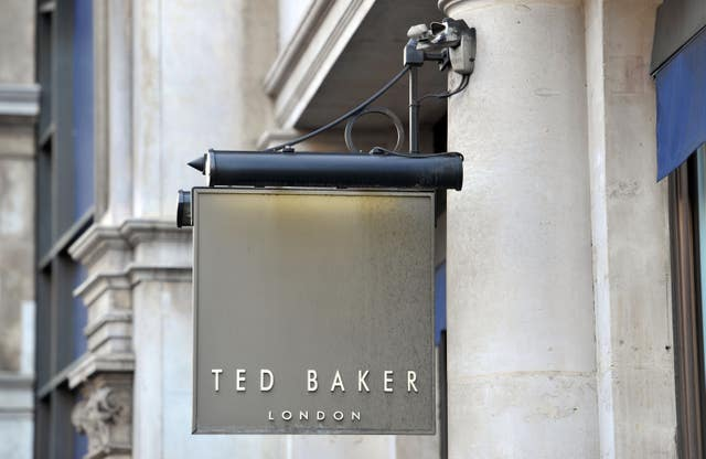A shop sign for Ted Baker in central London.