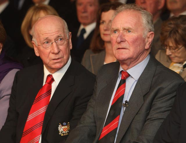 Sir Bobby Charlton, left, paid tribute to Harry Gregg, right