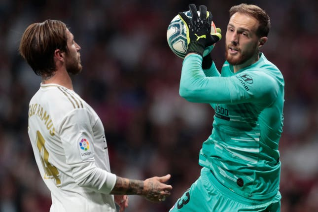 Atletico Madrid keeper Jan Oblak, right, was a key performer in the goalless draw with Real