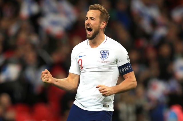 Harry Kane celebrates scoring England's fifth goal