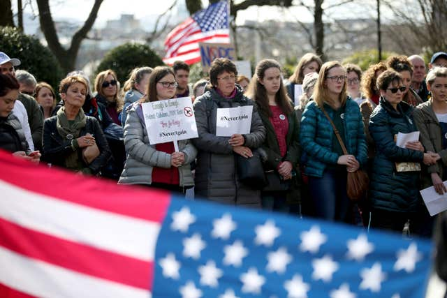 Protesters during the Edinburgh March For Our Lives anti-gun rally outside the US Consulate in Edinburgh (Jane Barlow/PA)