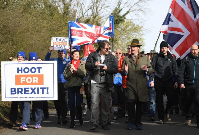 Former Ukip leader Nigel Farage leads the March to Leave protest  (Joe Giddens/PA)