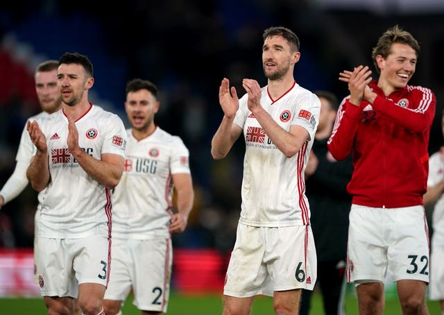Sheffield United players celebrate victory against Crystal Palace last season - they will be hoping to do the same in May.