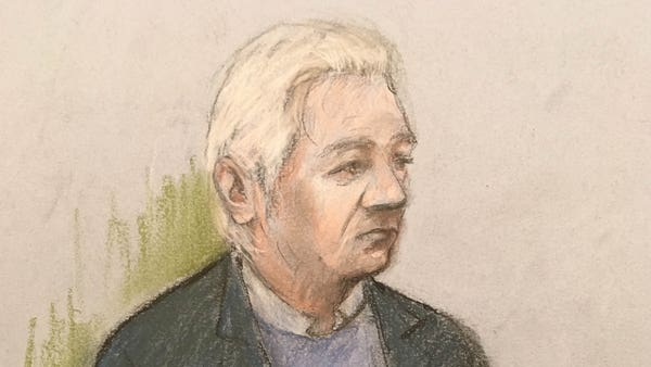 Julian Assange mumbles and stutters as he appears in court in extradition case