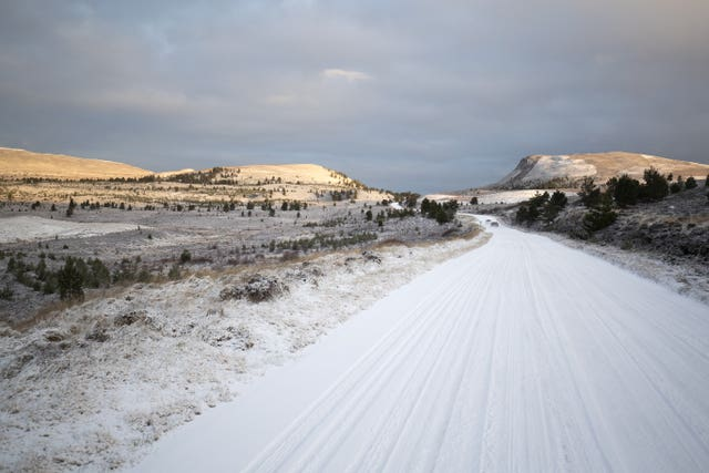 Snow covers the B9007 between Carrbridge and Forres in the Cairngorms National Park