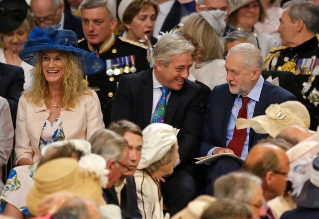 John Bercow and Jeremy Corbyn at St Paul's Cathedral for a service in 2016 marking the 90th birthday of the Queen