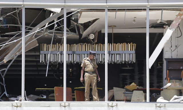 Damage at the Shangri-la hotel in Colombo
