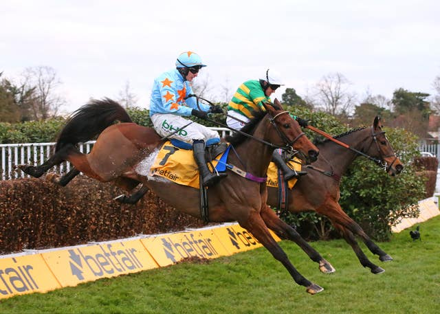 Defi Du Seuil (far side) joins Un De Sceaux at the last in the Tingle Creek