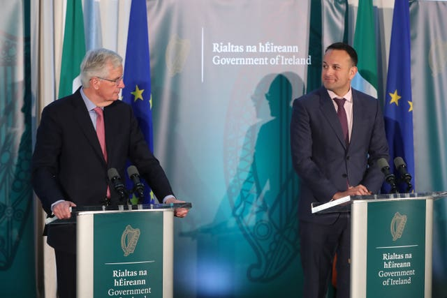 Mr Barnier asserted there must not be a hard border on the island of Ireland (Niall Carson/PA)