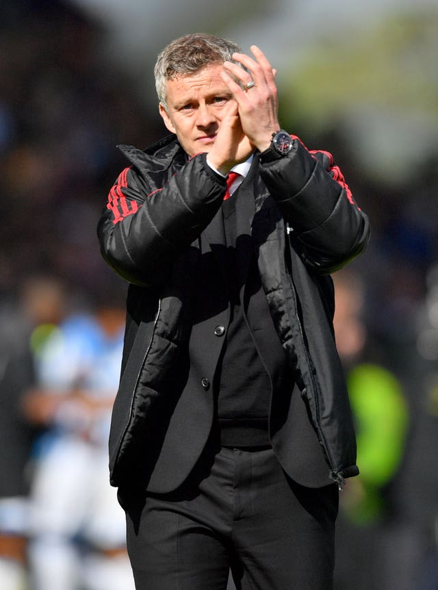 Manchester United manager Ole Gunnar Solskjaer applauds the fans after a disappointing draw