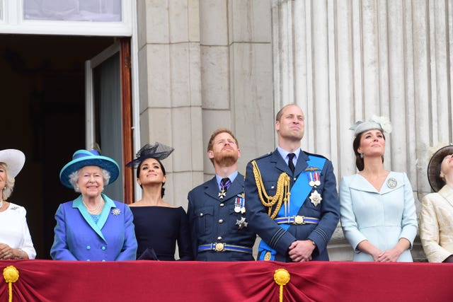 Royal family on balcony for flypast