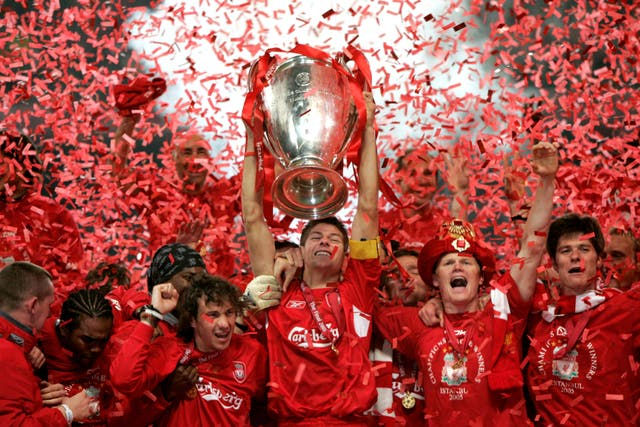Liverpool lift the Champions League trophy in 2005