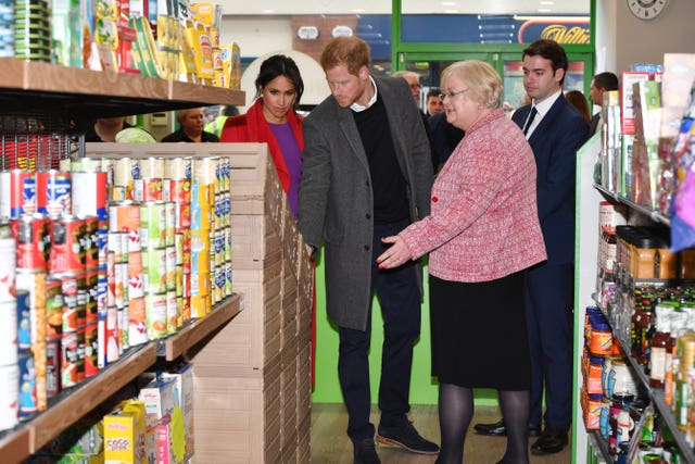 The Duke and Duchess of Sussex are shown around the supermarket