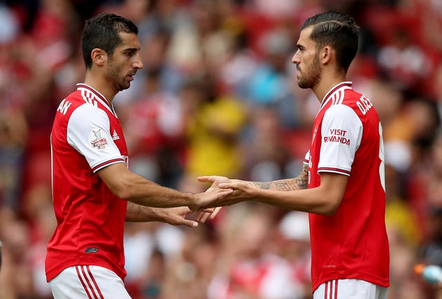 Dani Ceballos, right, comes on for his Arsenal debut in place of Henrikh Mkhitaryan against Lyon