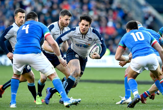 Scotland's Sam Johnson (centre) impressed on his international debut against Italy