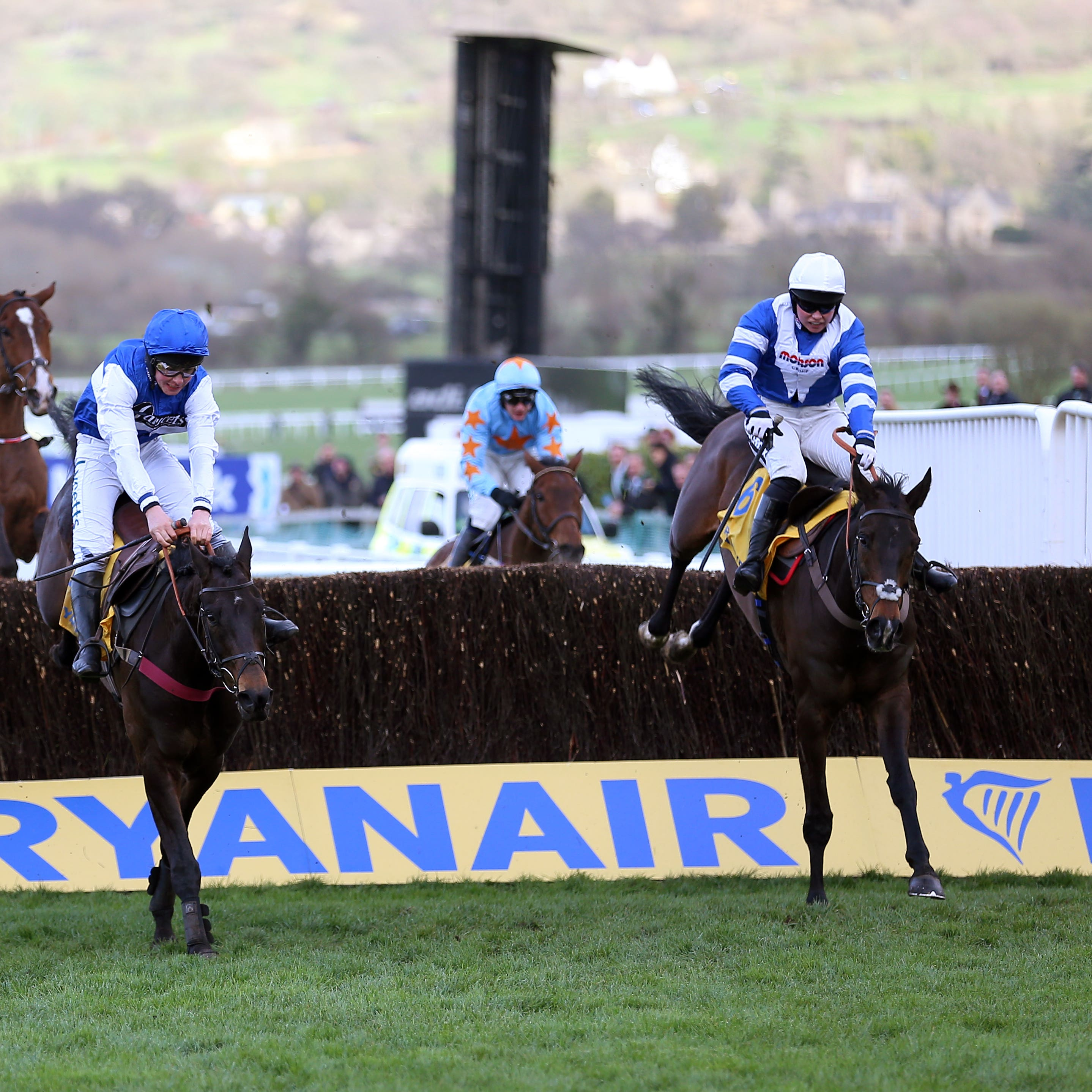 Frodon (right) on his way to a thrilling triumph in the Ryanair Chase under Bryony Frost