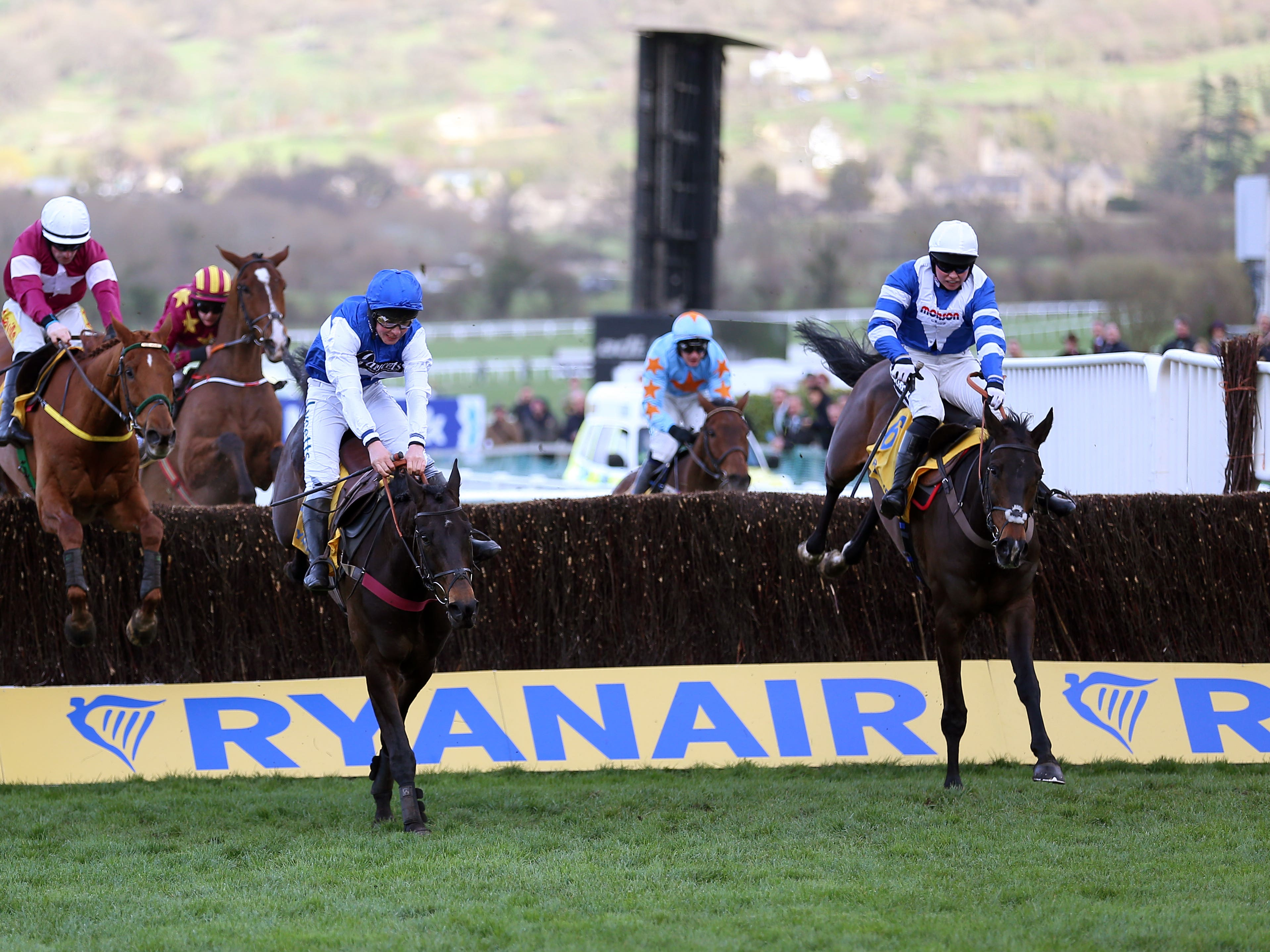 Frodon (right) on his way to a thrilling triumph in the Ryanair Chase under Bryony Frost (Nigel French/PA)