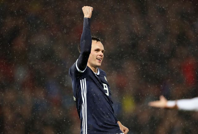 Dundee United striker Lawrence Shankland notched his first goal for Scotland