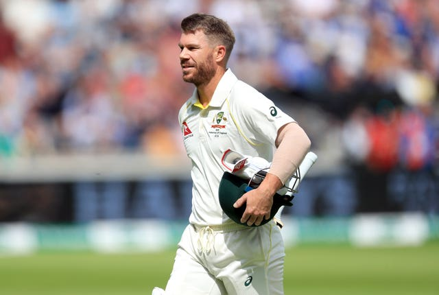 David Warner trudges off after being dismissed on the opening day of the series