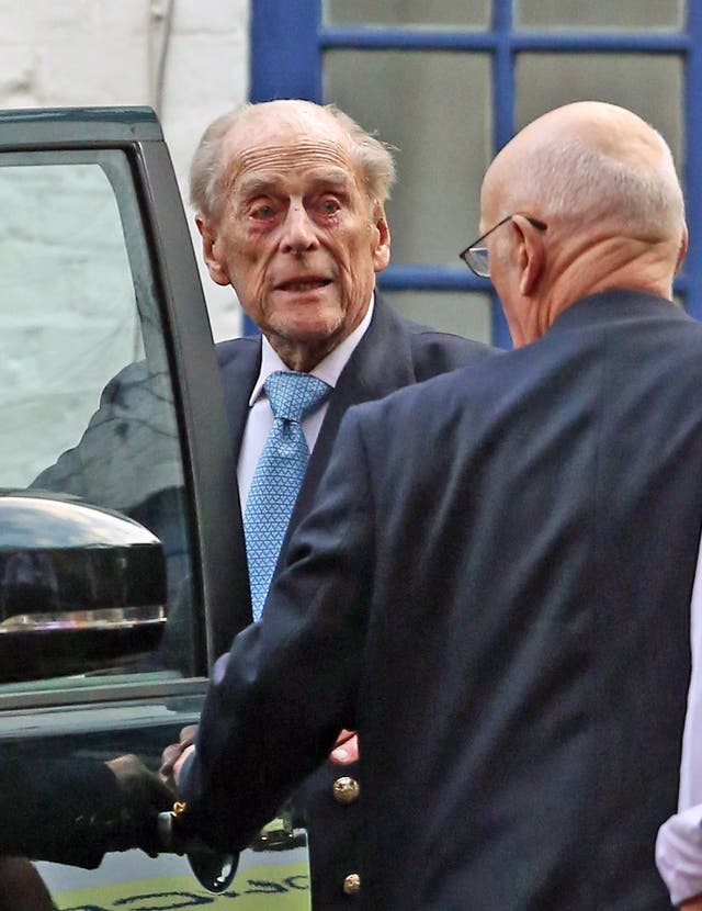 The Duke of Edinburgh leaving King Edward VII Hospital in London on a previous visit (Philip Toscano/PA)