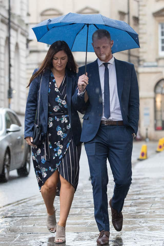 Ben Stokes and his wife Clare arrive at Bristol Crown Court