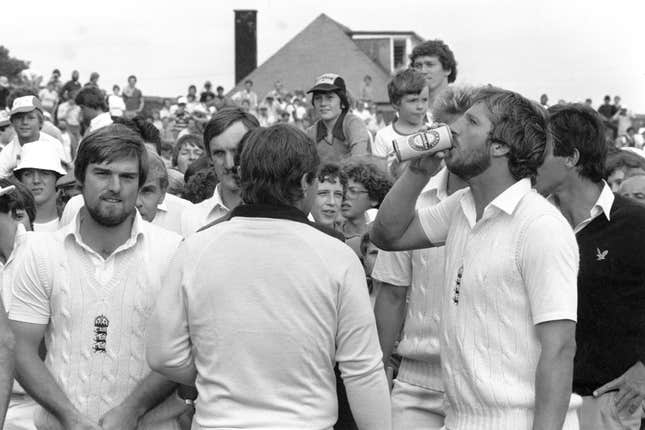 England have not won an Ashes Test at Old Trafford since 1981, when Ian Botham (pictured with a celebratory drink) scored a second-innings 118