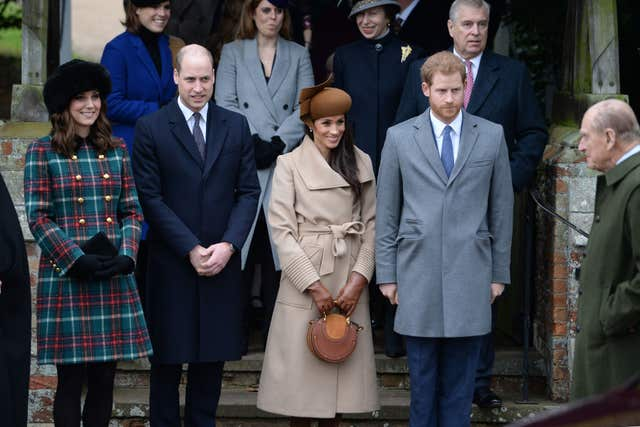 The Duke and Duchess of Cambridge, Meghan Markle and Prince Harry leave the Christmas Day morning church service at St Mary Magdalene Church in Sandringham, Norfolk (Joe Giddens/PA)