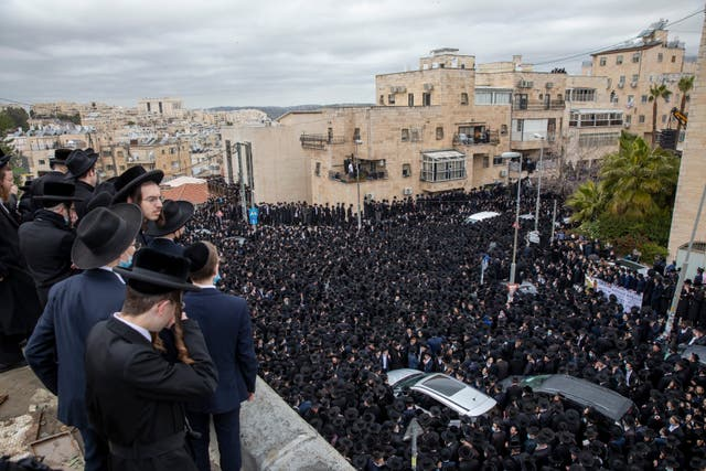 Thousands of ultra-Orthodox Jews joined in the funeral
