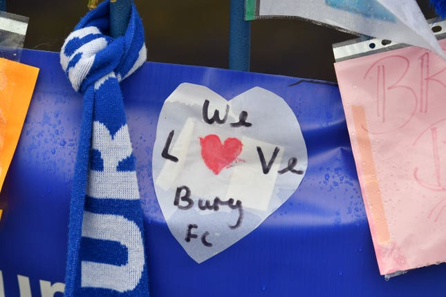 A message outside Gigg Lane