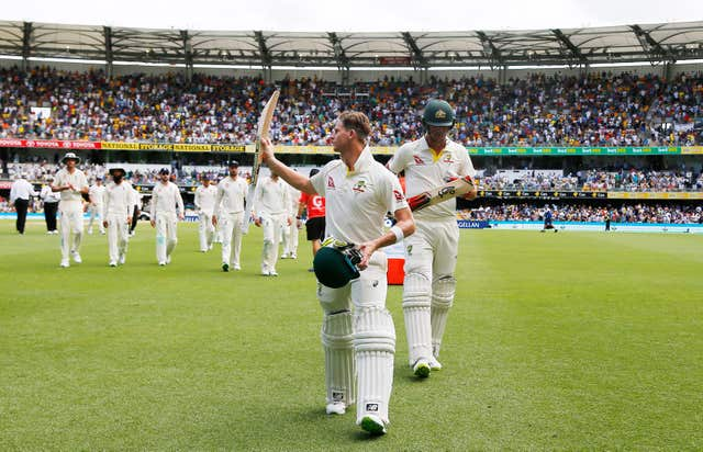 Steve Smith celebrates during Australia's 2017 win over England in Brisbane