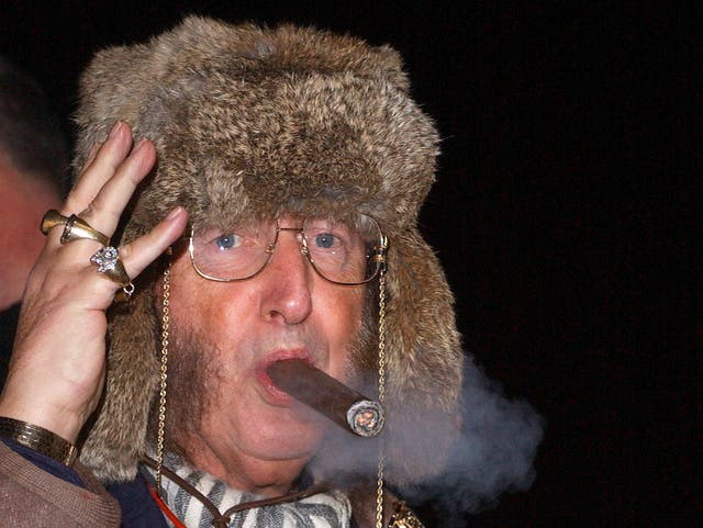 John McCririck outside the Big Brother house in 2005
