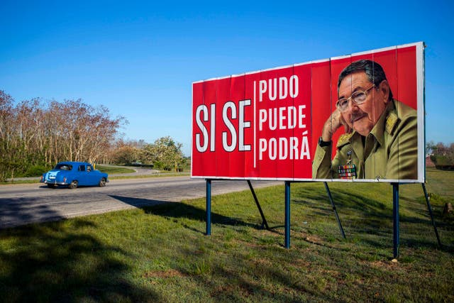 A poster featuring Raul Castro on the outskirts of Havana (Desmond Boylan/AP)