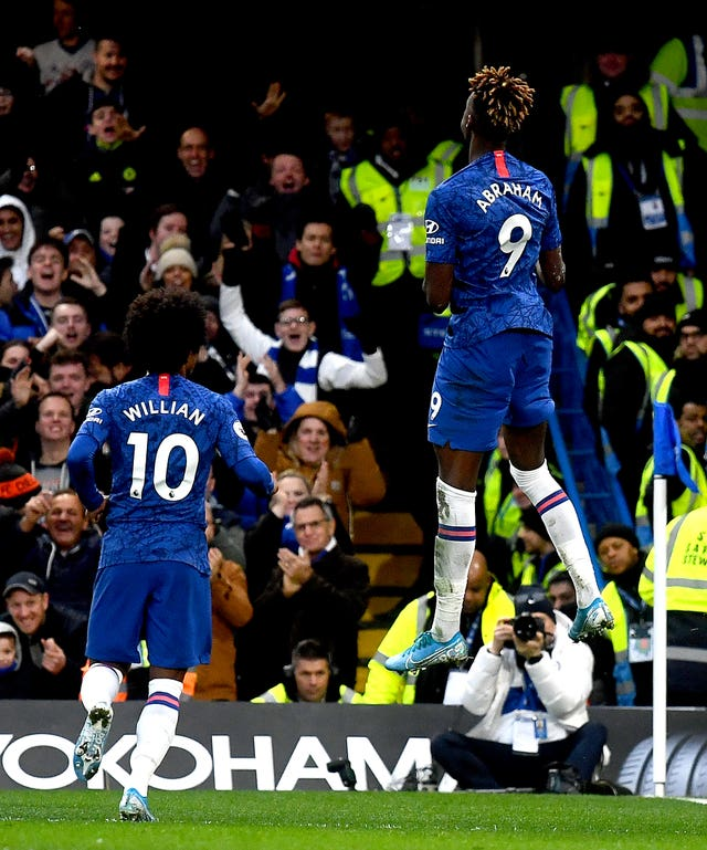 Chelsea's Tammy Abraham jumps for joy