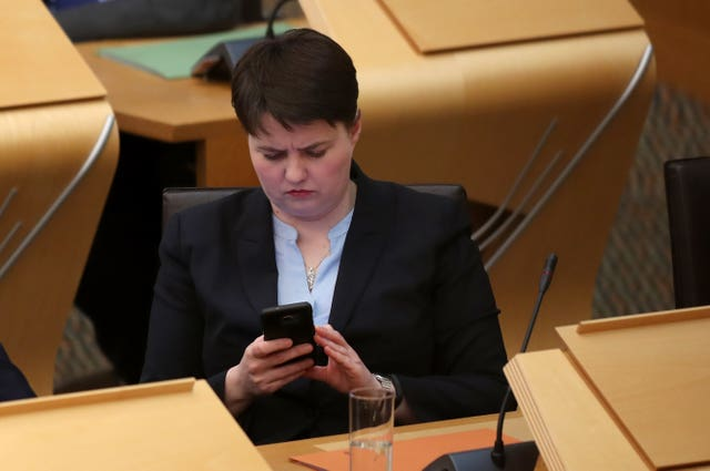 Scottish Conservative party leader Ruth Davidson said she thought it was important to call out homophobic abuse (Jane Barlow/PA)