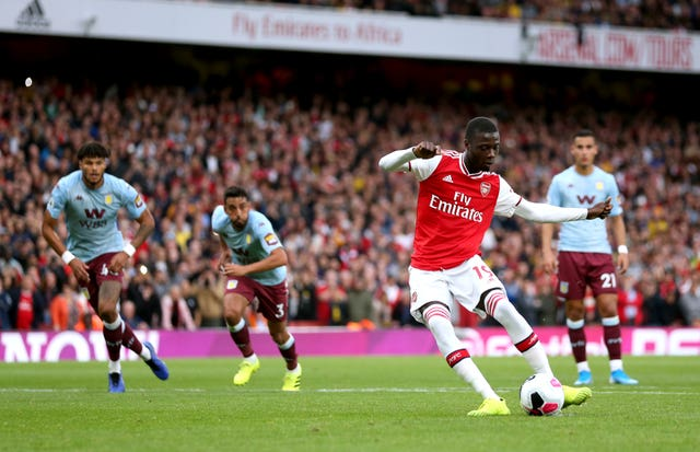 Pepe's first Arsenal goal came from the penalty spot against Aston Villa.
