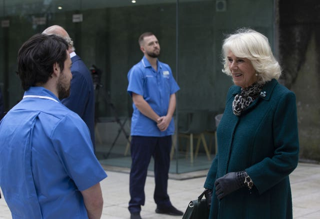 The Duchess of Cornwall during a visit to the Ulster Museum in Belfast where she thanked nurses and midwives who transitioned early from their training to respond to the Covid-19 pandemic. Ian Vogler/Daily Mirror
