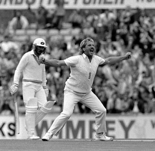 Botham celebrates.