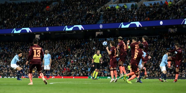 Sane equalised for City with a superb free-kick