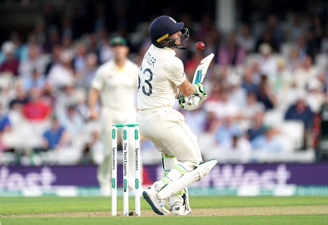Jos Buttler is hit by the ball while batting against Australia